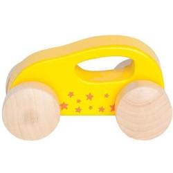 Mini coche de madera amarillo