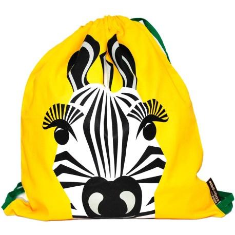 Mochila de cordones amarilla Cebra