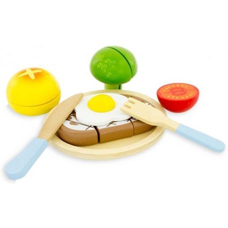 Set de hamburguesa y cubiertos de madera