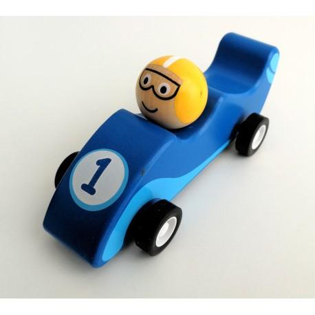 Mini coche de carreras de madera azul