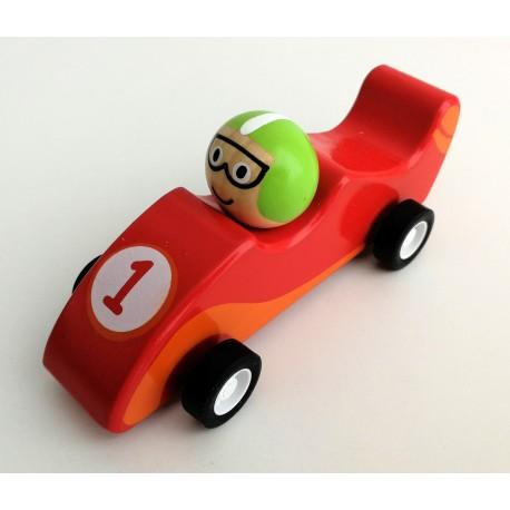 Mini coche de carreras de madera rojo