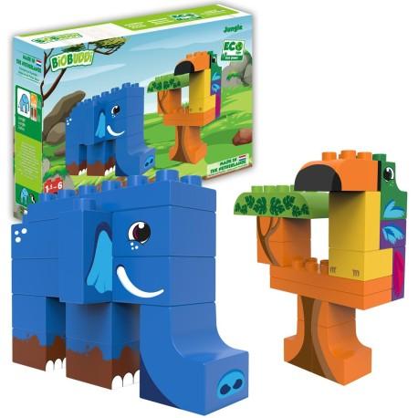 Bloques de construcción eco-friendlies animales de la jungla (27 piezas)