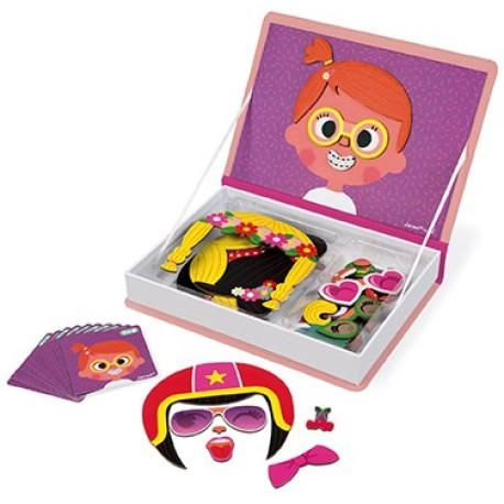 Maletín-libro magnético para crear rostros de niña