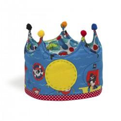 Corona de tela reversible con estampado de piratas