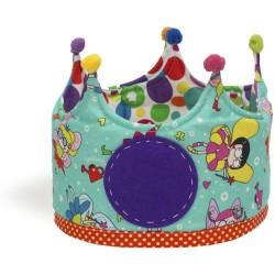 Corona grande de tela con estampado de hadas