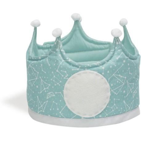 Corona grande de tela con estampado de constelación mint