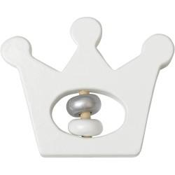 Sonajero de madera blanco con forma de corona (Wooden Crown Rattle)