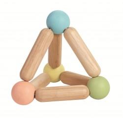 Sonajero de madera con forma de triángulo en colores pastel